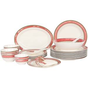 Melamine Dinner Set Rock Red 34pcs