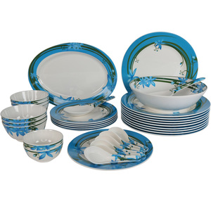 Melamine Dinner Set Floral Blue 34pcs