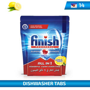 Finish All In One Powerball Lemon For Dishwashers 14Tabs 224g
