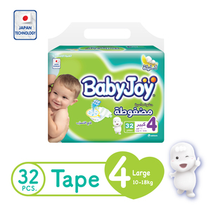 BabyJoy Compressed Tape Diaper Size 4 Large Value Pack 10 - 18kg 32 Count