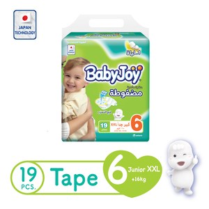 BabyJoy Compressed Tape Diaper Size 6 XXL Value Pack 16+kg 19 Count