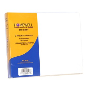 Homewell Bed Sheet Single 2pc 168x224cm White Color