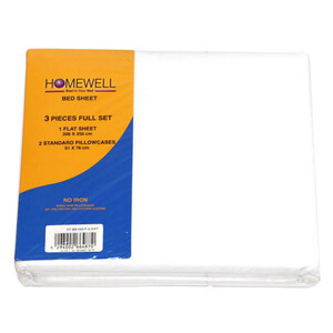 Homewell Bed Sheet Double 3pc 206x250cm White Color