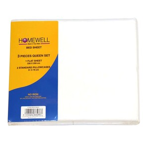 Homewell Bed Sheet Queen 3pc 228x259cm White Color