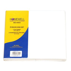 Homewell Bed Sheet King 3pc 274x259cm White Color