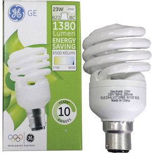 Ge Energy Saving Spiral CFL Bulb 23W B22 2pcs