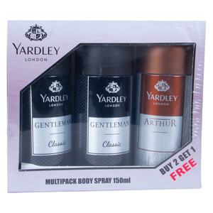Yardley Body Spray For Men Assorted 3 x 150ml