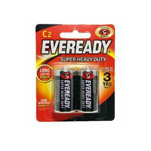 Eveready Super Heavy Duty C Size(R14) Carbon Zinc Batteries 2pcs