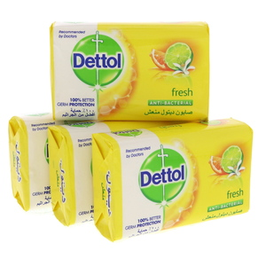 Dettol Fresh Anti Bacterial Bath Soap 4 x 165g