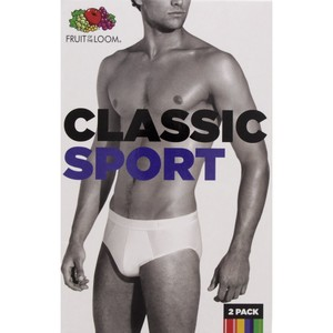 Fruit Of The Loom Men's Brief Classic Sport 2 Piece Medium White