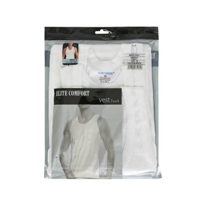 Elite Comfort Men's Rib Vest 3Pcs Pack White Medium