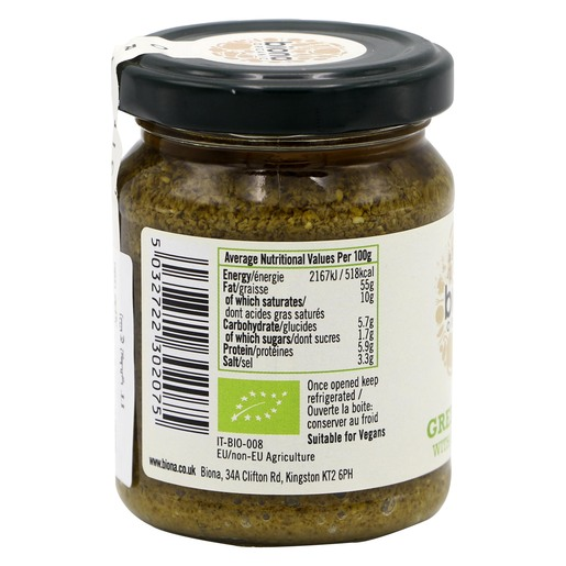 Biona Organic Green Pesto with Pine Kernels 120g