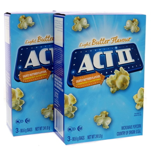 Act 2 Light Butter Flavour Microwave Popcorn 2 x 241.8g
