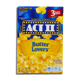 Act II Microwave Popcorn Butter Lovers 234g