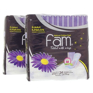Fam Feminine Pads Night With Wings 2 X 24pcs
