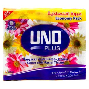 Uno Plus Super Soft Facial Tissue 200 x 10pcs