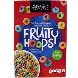 Essential Everyday Fruity Hoops Fruit Flavored Multi Grain Sweetened Cereal 345g