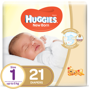 Huggies New Born Size 1 Carry Up to 5kg 21pcs