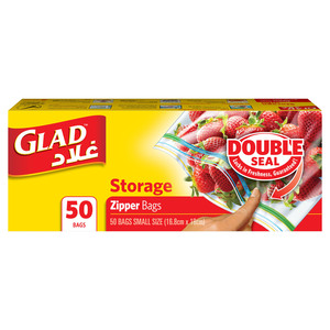 Glad Zipper Food Storage Plastic Bags Quart Size 16.8cm x 18cm 50pcs
