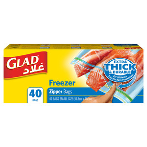 Glad Zipper Food Storage Freezer Bags Quart Size 16.8cm x 18cm 40pcs