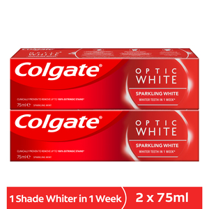 Colgate Toothpaste Optic White Sparkling Whitening Mint 2 x 75ml