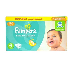 Pampers Baby Dry Size4, 8-14kg Mega Box 120 Count
