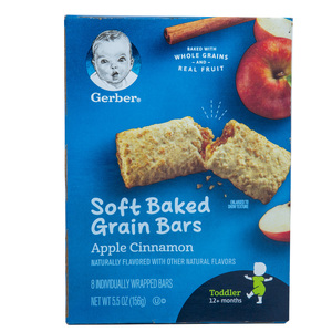Gerber Baby Food Soft Baked Grain Bars Apple Cinnamon For Toddler 12+ Months 156g