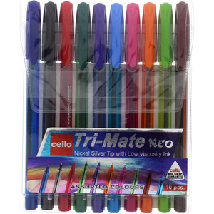 Cello Ball PenTri-Mate Neo10's Assorted Color Ink 8129