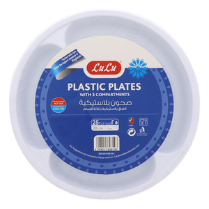 Lulu Plastic Plates With 3 Compartments 26cm 25pcs