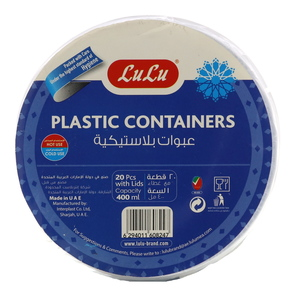 Lulu Plastic Containers with Lids Capacity 400ml 20pcs