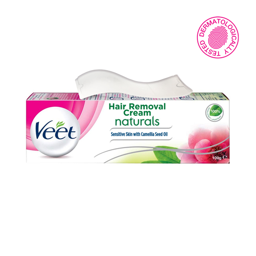 Veet Hair Removal Cream Naturals Sensitive Skin with Camelia Seed Oil 100g