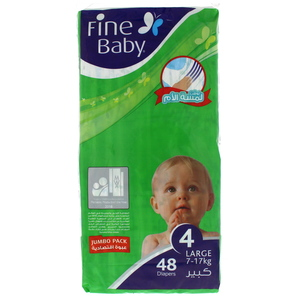 Fine Baby Diapers Size 4, 7-17kg, Large, Jumbo Pack 48 Count