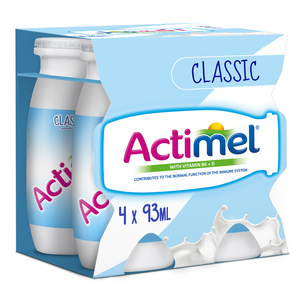 Actimel Classic Plain Dairy Low Fat Drink 4 x 93ml