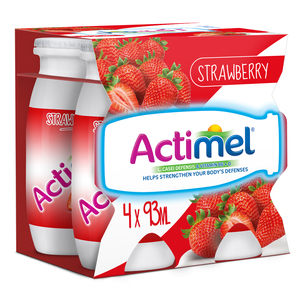 Actimel Strawberry Flavored Low Fat Dairy Drink 4 x 93ml