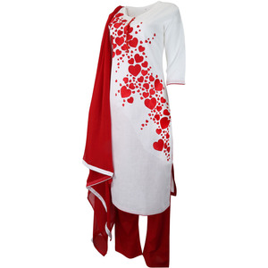 Women's Churidar With Plazo Bottom Red Heart Thread Embroidery