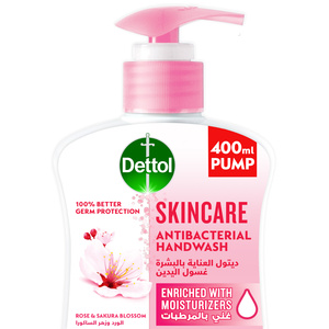 Dettol Skincare Handwash Liquid Soap Pump For Effective Germ Protection & Personal Hygiene Rose & Sakura Blossom Fragrance 400ml