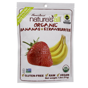 Natures All Organic Bananas & Strawberries Freeze & Dried 51 Gm