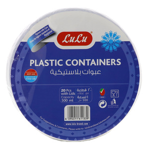 Lulu Plastic Containers with Lids Capacity 500ml 20pcs
