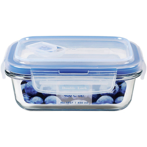JCJ Double Lock Glass Container 450ml