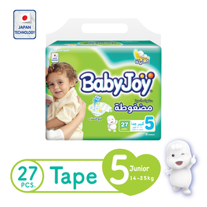 BabyJoy Compressed Tape Diaper Size 5 Junior Value Pack 14 - 25 27 Count