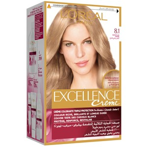 L'Oreal Paris Excellence Creme 8.1 Ash Light Blonde Hair Color 1 Packet