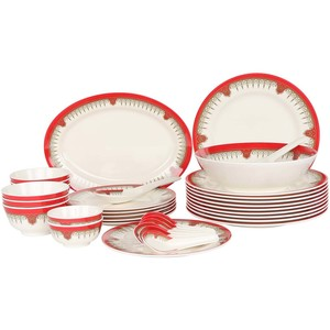 Melamine Dinner Set Bonkot Red 34pcs
