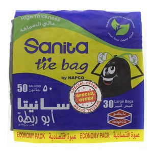 Sanita Tie Garbage Bag 50Gallon 30pcs