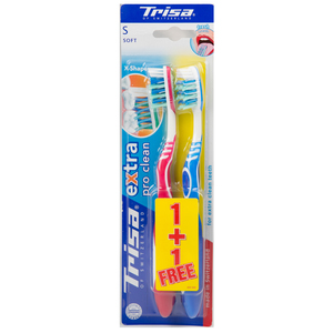 Trisa Toothbrush Extra Pro Clean Soft 2pc Assorted Colours