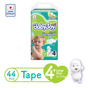 BabyJoy Compressed Tape Diaper Size 4+ Large Plus Jumbo Pack 12-21kg 44 Count