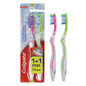 Colgate Max White Toothbrush Medium 2pcs Assorted Color