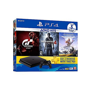 Sony PS4 Console 500GB + Horizon Zero Dawn + Uncharterd 4 + Gran Turismo + 3Month Playsation Plus