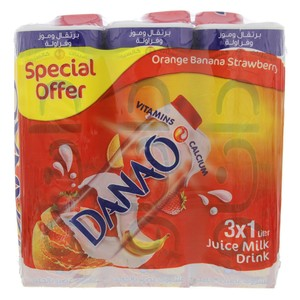 Danao Orange Banana Strawberry Juice Milk Drink 1Litre x 3pcs