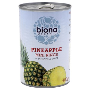 Biona Organic Pineapple Mini Rings In Pineapple Juice 400g