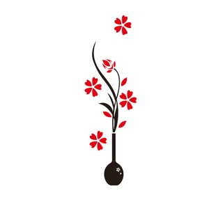 Maple Leaf Home Flower Vase Acrylic Wall Stickers 01 450x1500mm